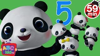 five little pandas jumping on the bed   more nursery rhymes kids songs abckidtv