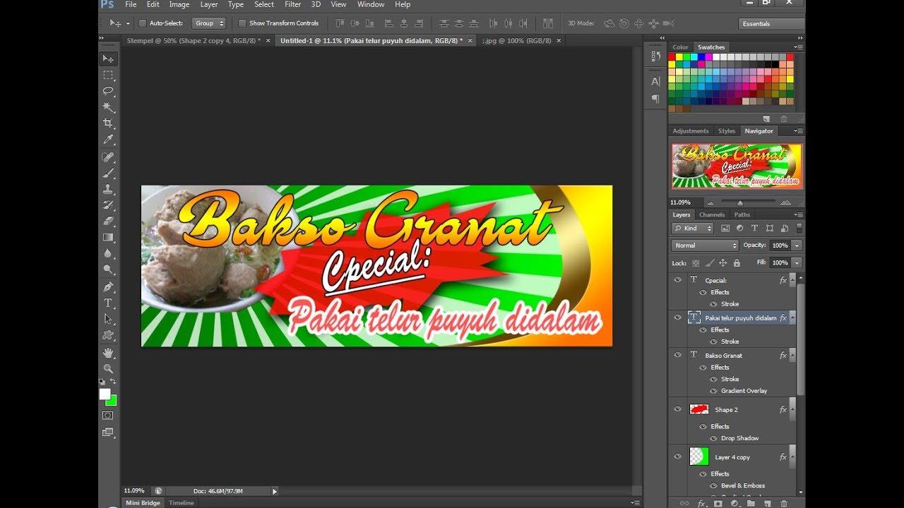 Cara Mudah Desain Membuat Banner Warung Makan Bakso Youtube