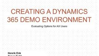 Schaffung einer Dynamik 365 Demo-Umgebung: Evaluierung Optionen für AX-Anwender (Aufgezeichneten Webcast)