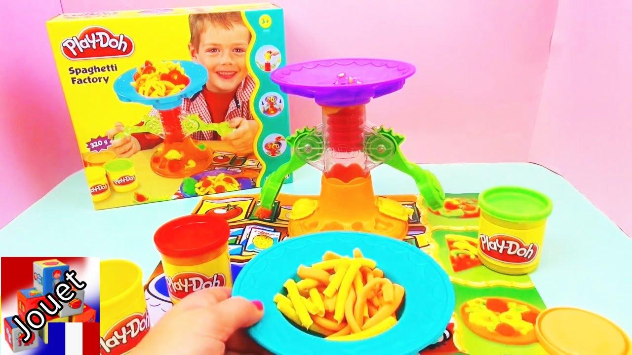 Play Doh spaghetti factory - pasta maker - Faire des pâtes en pâte à modeler soi-même [demo 1 ...