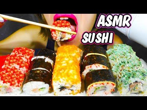ASMR SALMON SUSHI ROLL SET (Chewing & Satisfying Eating Sounds) NO TALKING Mukbang - 먹방 | JULS-ASMR