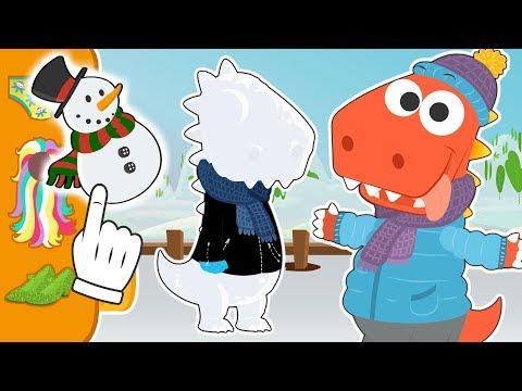 Aprende con Eddie como hacer un muñeco de nieve ⛄ Eddie el dinosaurio disfraza a su muñeco de nieve