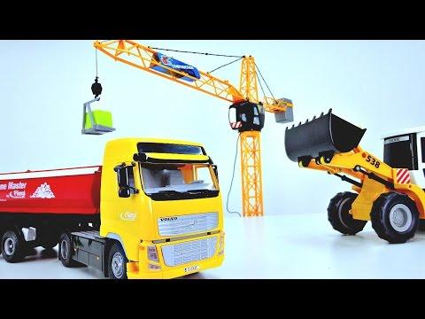 Мультик про машинки - Подъемный кран, грузовик и экскаватор - Небоскреб
