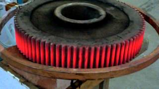 закалка шестерни(Применения индукционных нагревателей 1.Сплошная и сканирующая закалка, а также отпуск: валов, шестерен,..., 2014-10-13T06:58:45.000Z)
