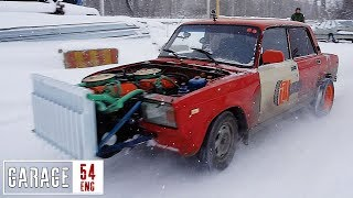 Taking our twin-engine (2.7 liter inline-8) Lada out for the first time