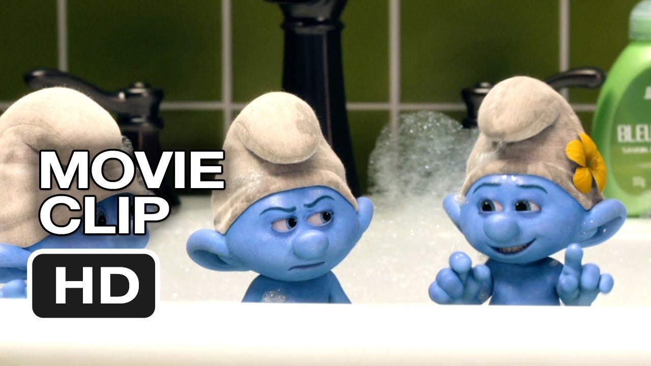 the smurfs 2 movie clip - bubble bath (2013) - animated sequel hd