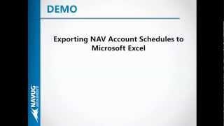 Export NAV Account Schedules to Microsoft Excel