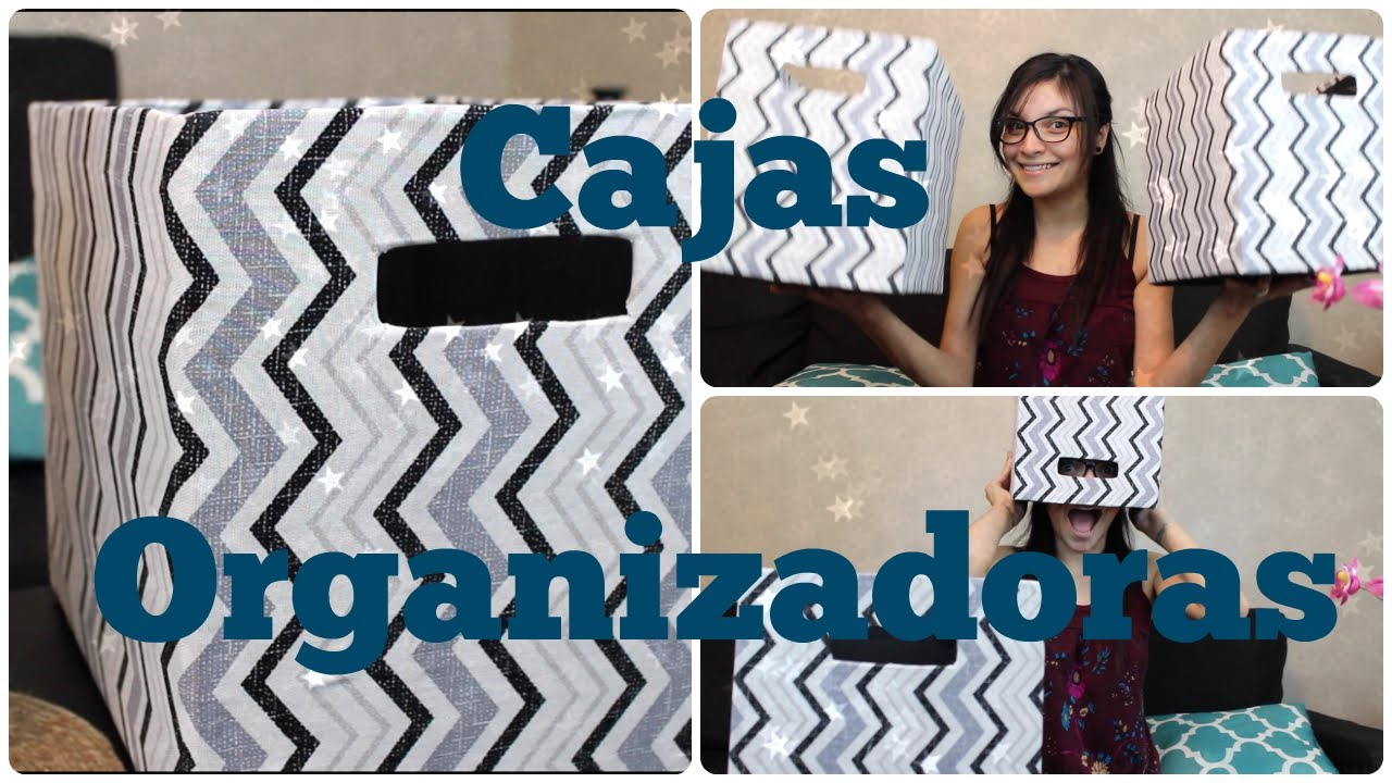Cajas organizadoras de tela y carton diy youtube for Forrar cajas de carton con tela