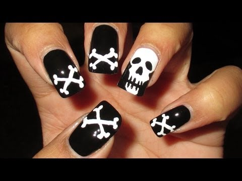Skull & Crossbones Halloween Nail Art Tutorial - Skull & Crossbones Halloween Nail Art Tutorial - YouTube