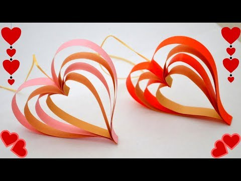 Paper Heart Hanging | Valentines Day decoration | Easy Paper Hearts | Crafts by anu