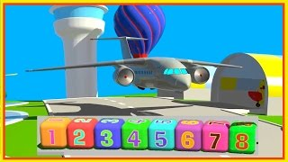 learn simple numbers passenger jet air plane cartoon airport demo 1 8 construction game 6