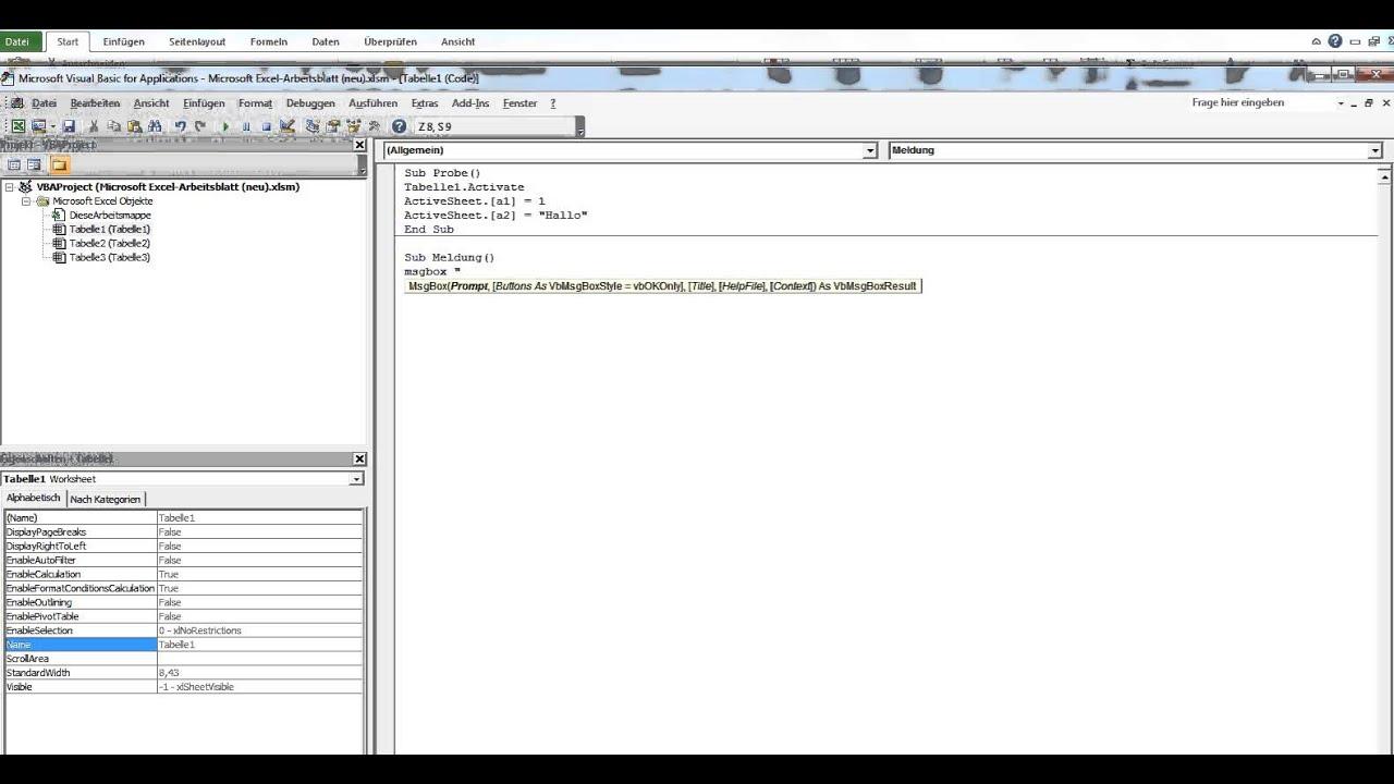 3ES_Eine einfache Dialogbox in Excel VBA ausgeben (MsgBox) - YouTube