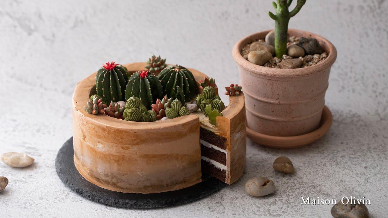 선인장 케이크(Cactus cake) / 먹을 수 있는 선인장과 다육이