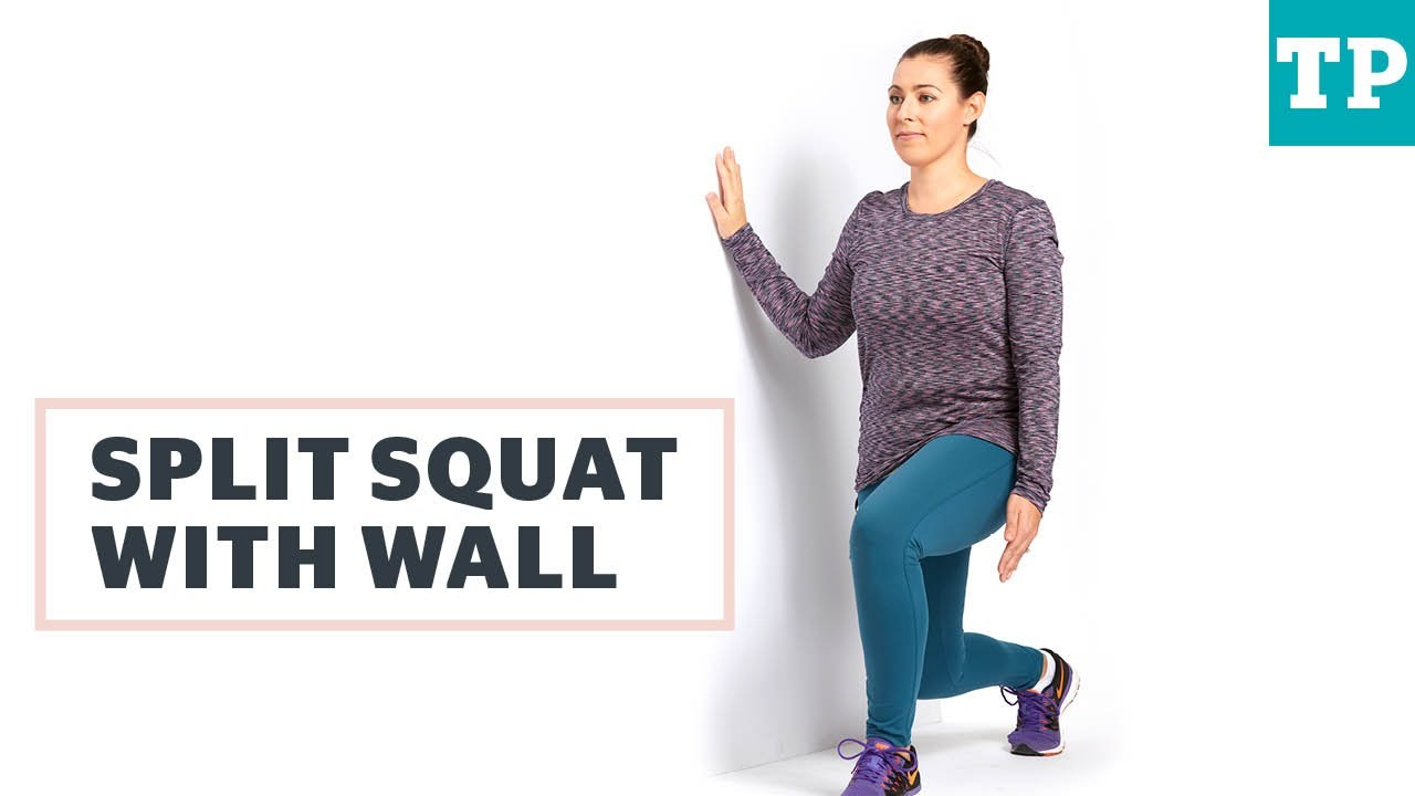 Split Squat With Wall Exercise After C Section Youtube