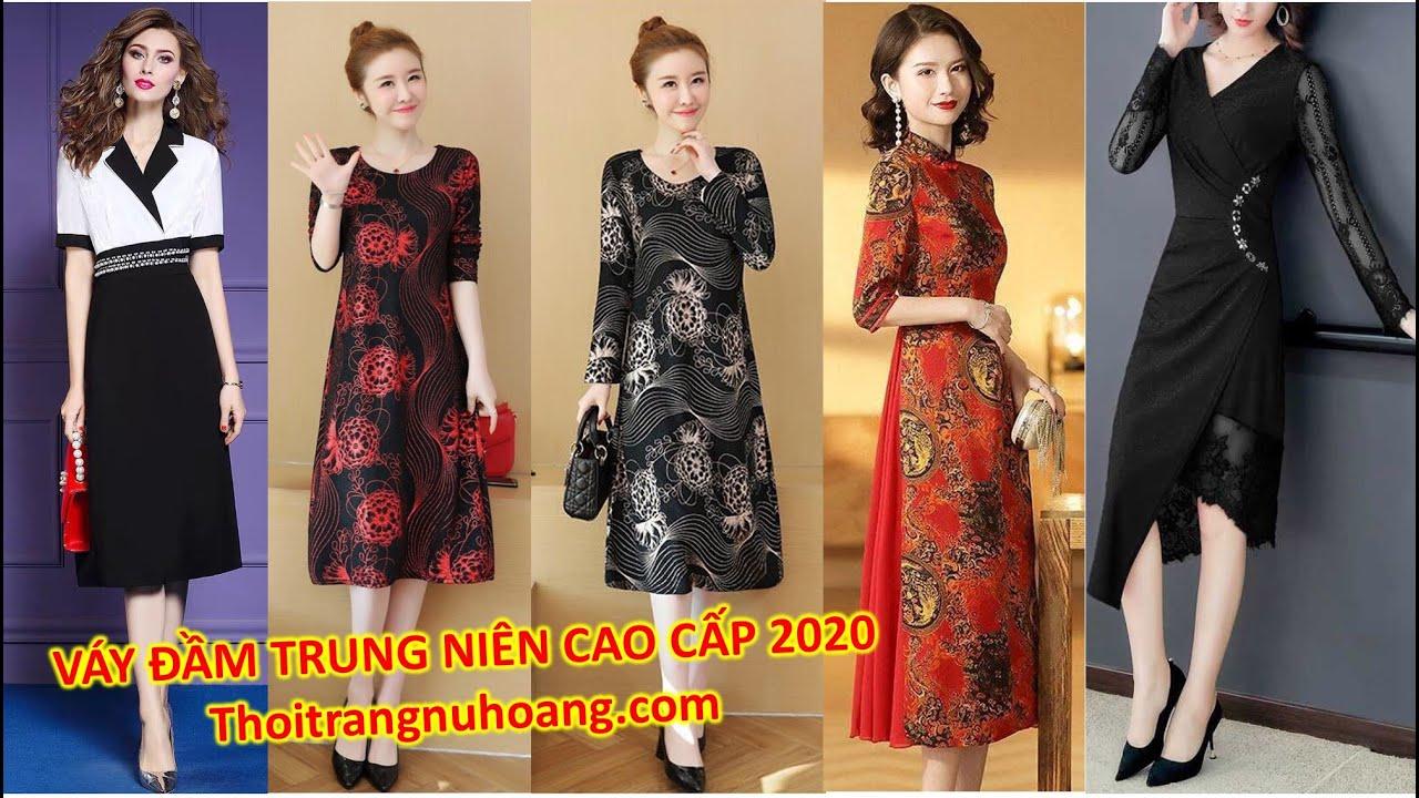 Váy, Áo Đầm Trung Niên, thời trang trung niên đẹp cao cấp sang trọng 2020 tuổi 40, 50, tphcm, Hà nội