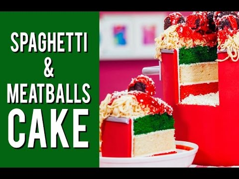 How To Make SPAGHETTI AND MEATBALLS CAKE with a Surprise Inside and Fondant Noodles