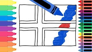 How to Draw Iceland Flag - Drawing the Icelandic Flag - Coloring Pages for kids | Tanimated Toys
