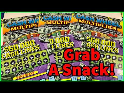$60,000 Cash Lines & Cash Wheel Multiplier   New York Lottery Scratch Off Tickets