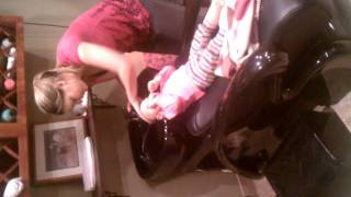 Delaineys first time in shampoo bowl