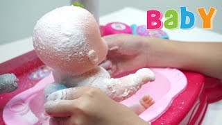 Mainan Anak Boneka Bayi Mandi Sabun Salju 💖 Baby Doll Bath Time With Snow 💖 Let's Play Jessica