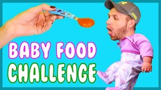 THE BABY FOOD Challenge! Loser Eats a Warhead Sucker Dipped in Baby Puke I mean Food