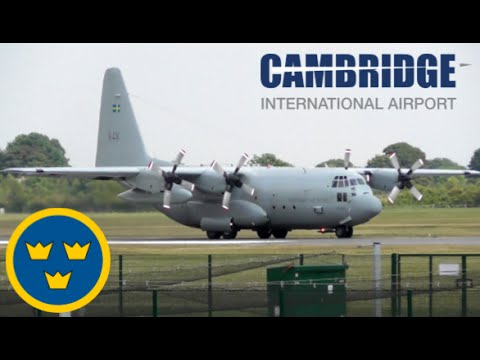 Swedish Air Force Lockheed C-130H Departing Cambridge Airport