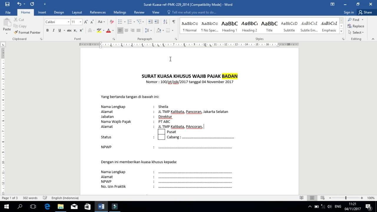 Panduan Pengisian Surat Kuasa Khusus Untuk Laporan Spt Masa Ke Kpp