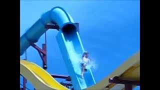 SLOW MO Waterslide Accident: Launch and Fall