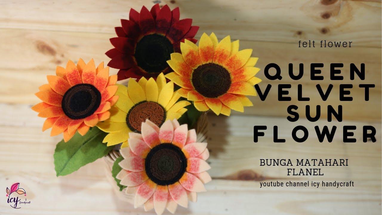 Cara Membuat Bunga Matahari Dari Kain Flanel Felt Sunflower By