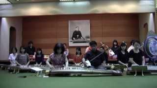 尊師の遺影の前で 「菊の栄」の合奏練習一回目 於 宮城道雄記念館