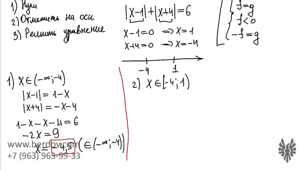 Уравнение с двумя модулями: особенности решения