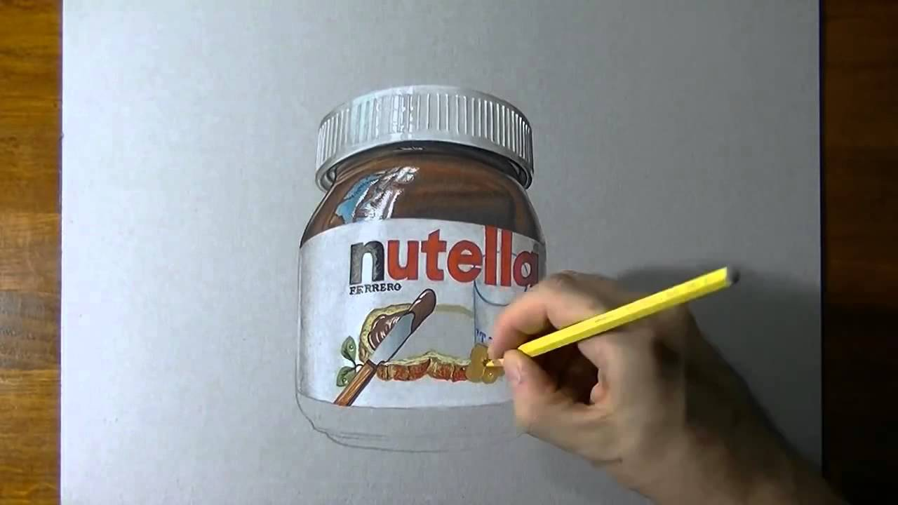 a glass jar of nutella realistic drawing youtube. Black Bedroom Furniture Sets. Home Design Ideas