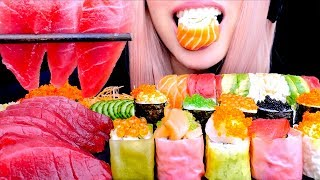 ASMR SASHIMI SUSHI TOBIKO RAW TUNA | Popping Satisfying Eating Sounds