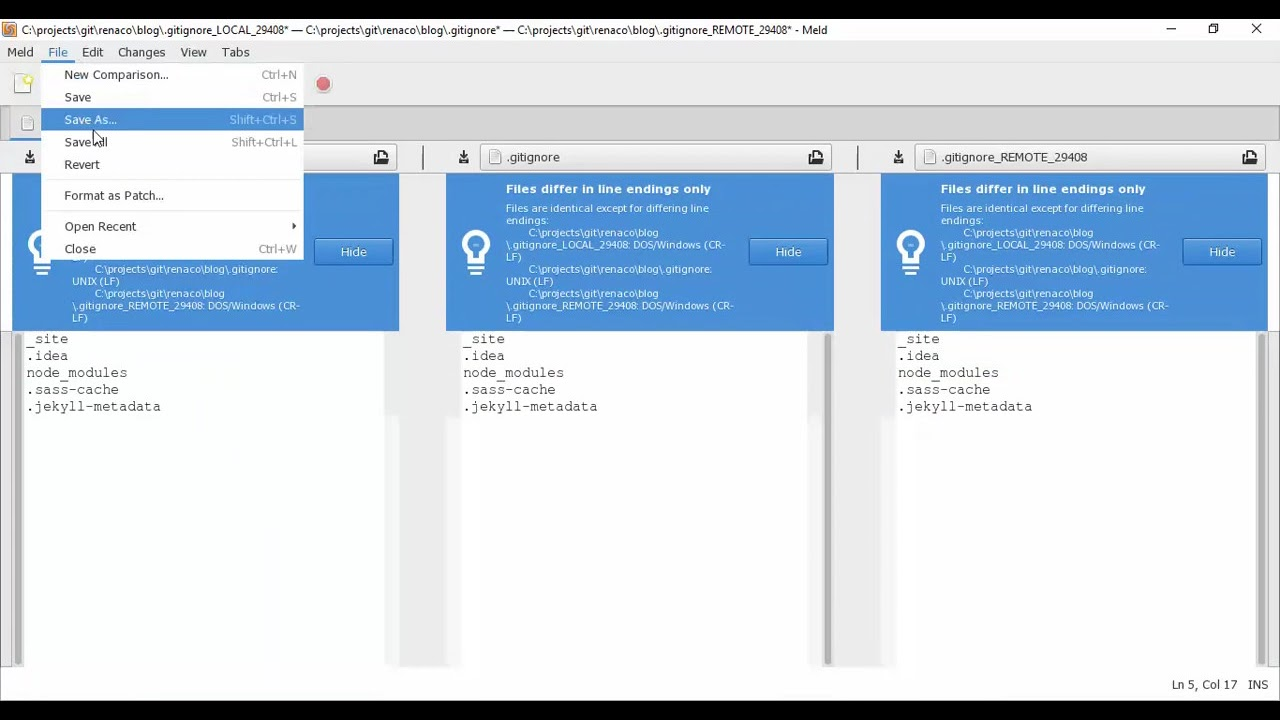 Resolver conflicto con Meld usando git mergetool en Windows 10
