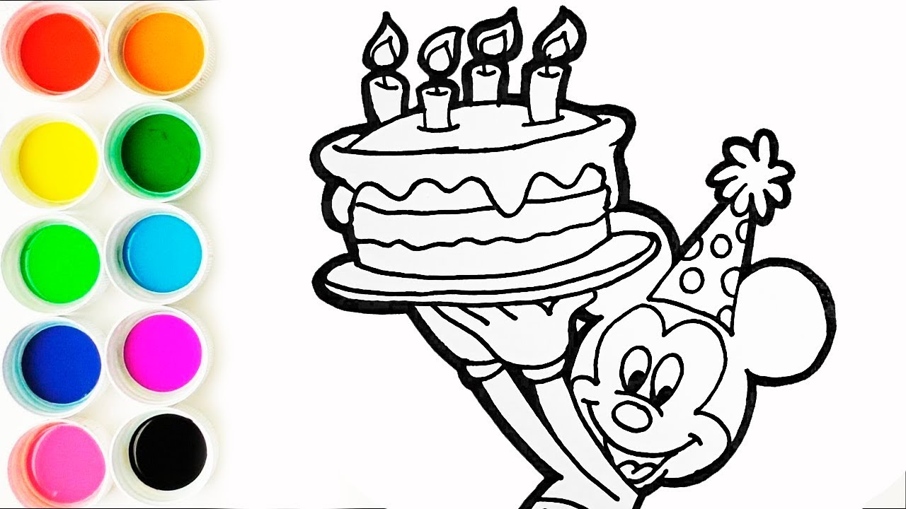 Como Dibujar Y Colorear A Mickey Mouse Con Una Torta De Cumpleaños Learn Colors Funkeep