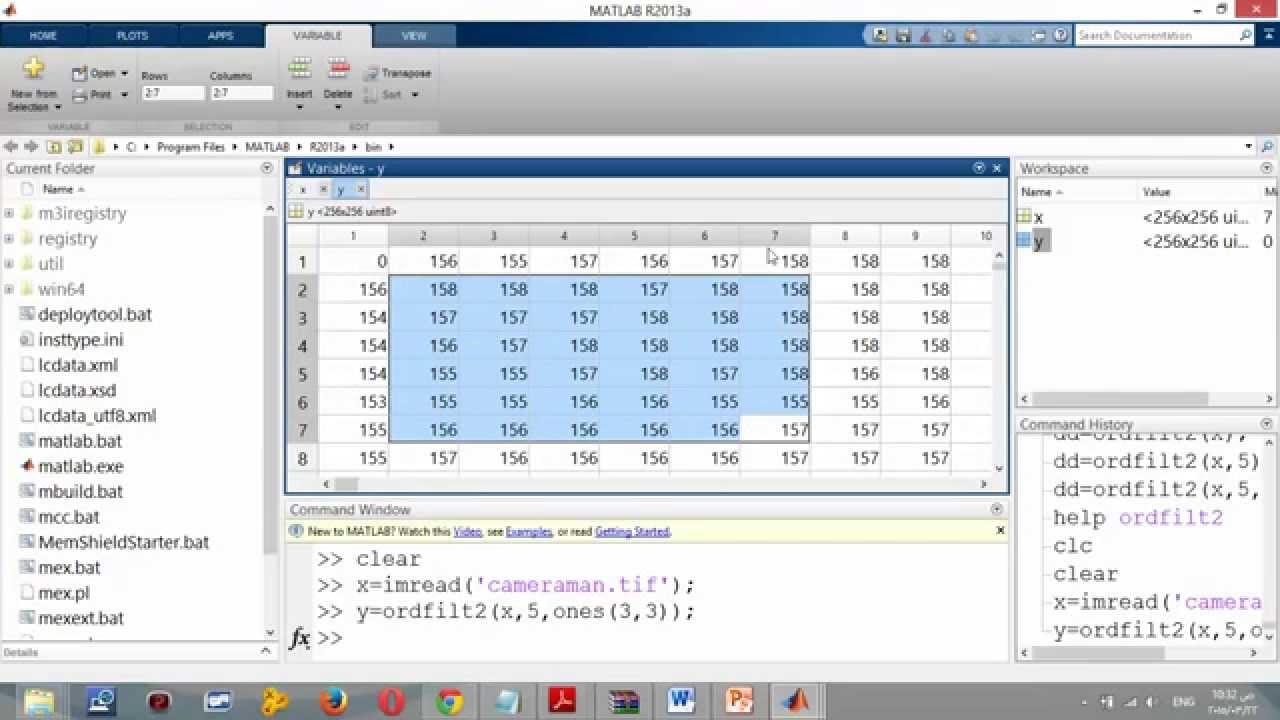 Rank order filter algorithm ,Median filter,Matlab code