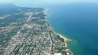 Aerial View of Lake Michigan & Landing at Chicago O'Hare -  American Airlines