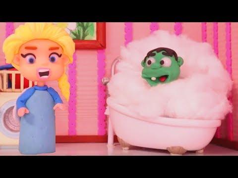 BABY HULK BUBBLE BATH  ❤ Spiderman, Hulk & Frozen Elsa Play Doh Cartoons For Kids