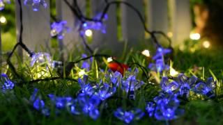 50-lights Blue Cherry Blossom Solar String Lights | Romantic Festival Decorations