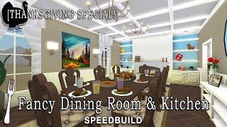 Roblox Bloxburg | Fancy Dining Room + Kitchen Speedbuild [Thanksgiving Special!]