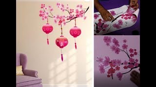 Low budget room decoration ideas|how to apply wall sticker|best way to apply wall stickers