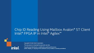 Chip ID Reading Using Mailbox Avalon® ST Client Intel® FPGA IP in Intel® Agilex™