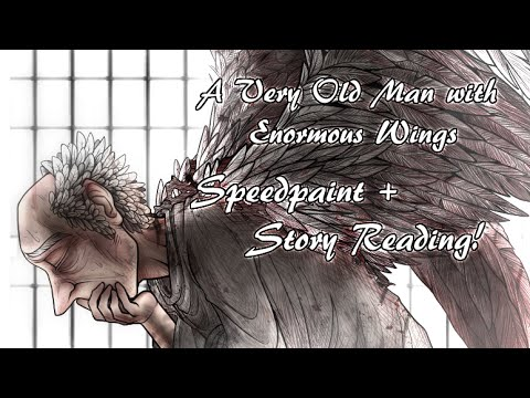 a very old man with wings