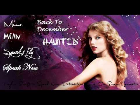 Taylor Swift - Speak Now Interactive Online Album Lyric Generator (START HERE)
