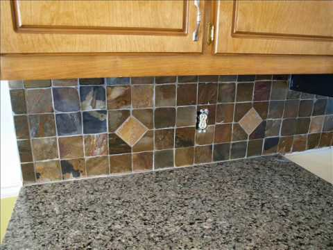 slate backsplash installation youtube