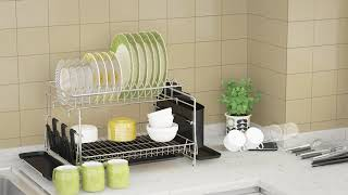 Dish Drying Rack 1easylife 2 Tier Large Kitchen Dish Rack With Removable Drainboard Youtube