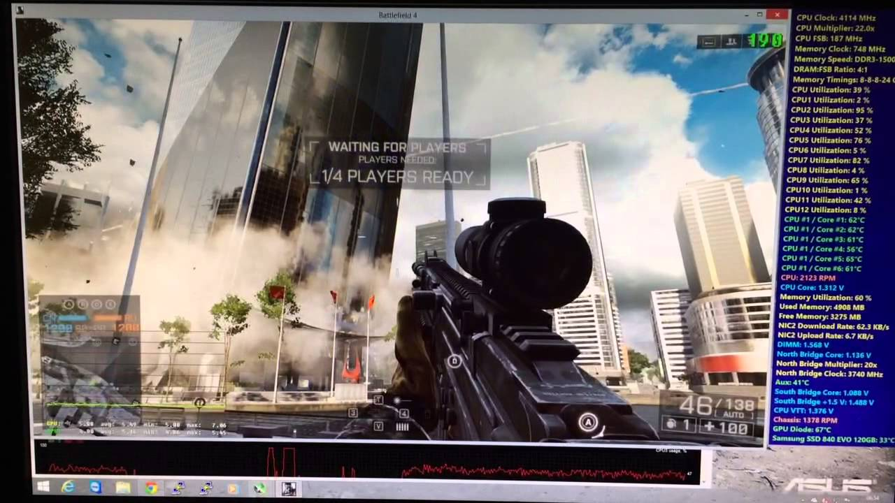 Battlefield 4 Benchmark Intel Xeon x5670 @4 1ghz