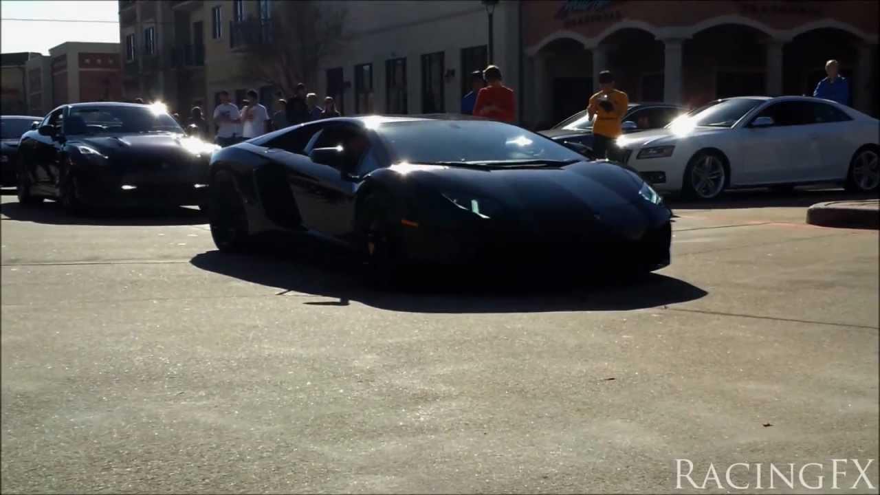 Lamborghini Aventador Revving Loud At Houston Coffee And
