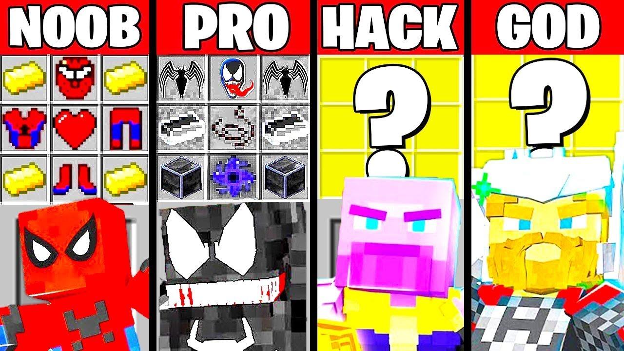 Minecraft Battle: SUPERHERO VILLAIN CRAFTING CHALLENGE NOOB vs PRO vs HACKER vs GOD Funny Animation