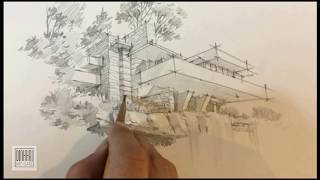 falling water of frank lloyd wright sketching by DinhHaikts